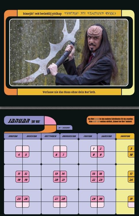 Vorschau des klingonischen Kalenders Monat Januar